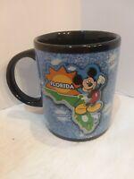 Disney Mickey Mouse Florida Souvenir Coffee Mug 10oz Black/ Blue EUC