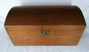 Antique 19th Century Dome Lidded Hope Coffer Casket Victorian Wood Storage Chest