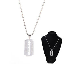 Men Favorite Stainless Steel Razor Blade Pendant Fashion Ball Chain Necklace