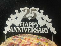 HEARTS Wedding Anniversary, Cake  Decoration, topper, Golden, Ruby, Silver