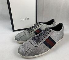 40fcfe4ffc3  750 Gucci Bambi Silver Glitter Sneakers w Web Gucci Stripe 7.5 US   37.5 EU