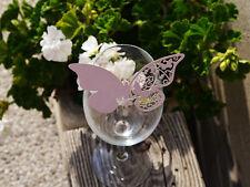 100x farfalle Segnaposto Segnabicchiere LILLA PERLATA matrimonio decorazione