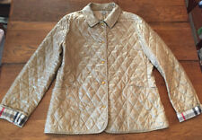 Burberry gold quilted barn jacket coat size L womens