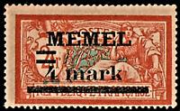 MEMEL / LITHUANIA (Scott 31a) France Surcharged in Black 4m on 2fr TYPE II Mint