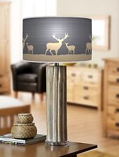 68cm Large Bamboo Wood Table Lamp with Giclee Print Lampshade Deer Stag 736