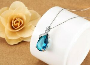 925 Silver Necklace with Blue Topaz Pendant UK Seller