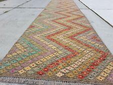 13'2 x 2'11 Handmade Afghan Kilim Rug Runner Wool Striped Kelim Carpet #7588