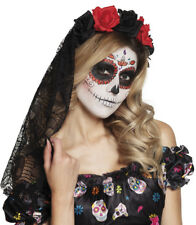 Ladies Rose Tiara & Black Veil Halloween Day of the Dead Fancy Dress Costume NEW