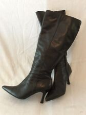 The Leather Collection Black Knee High Leather Boots Size 4