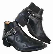 Mens Tan Brown Black Rinding Ankle Boots Cowboy Western Leather Classic Slip On