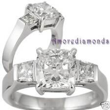 2.25 CT CERTIFIED CUSHION DIAMOND 3 STONE ENGAGEMENT RING 18K WHITE GOLD