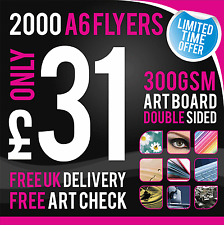 2000 A6 Leaflets / Flyers - 300gsm Coated Art Board - Double Sided - Full Colour