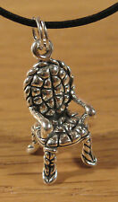Chair Charm Pendant Necklace .925 Sterling Silver USA Made Antique Decorator