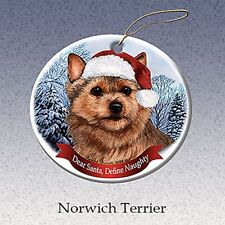 Holiday Pet Gifts Norwich Terrier Santa Hat Dog Porcelain Christmas Ornament