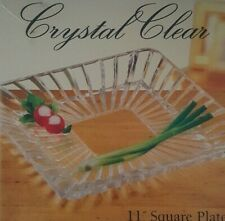 CRYSTAL CLEAR ALEXANDRIA 11 INCH SQUARE LEAD FREE CRYSTAL PLATTER