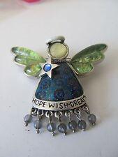 HOPE WISH DREAM Angel Guardian enameled Angel Brooch