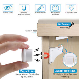 Invisible Magnetic Baby Child Locks Pet Proof Cupboard Drawer Safety Lock tw