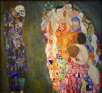 gustav klimt vintage life death  painting art  Print  choose  canvas or poster