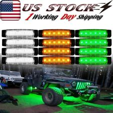 12x Amber/White/Green LED Rock Lights For Jeep Off-Road Fender Underbody Light