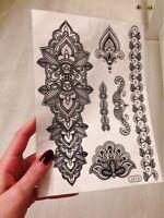 Black Flowers Mehndi Temporary Tattoo  Body Art Waterproof Henna Stickers