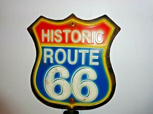 SIGN Historic Route 66 Weathered Red, White and Blue Metal Sign 13 X 11 inches