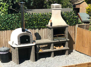 Grey brick Mediterranean BBQ with choice with a choice of wood fired pizza ovens