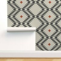 Removable Water-Activated Wallpaper Southwestern Tribal Geometric Nursery Aztec