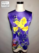 GIANNI VERSACE COUTURE AUTH VINTAGE 100% SILK PRINTED TOP T-SHIRT IRIS THISTLE