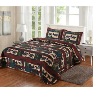 LL Home Black Bear Lodge Quilt Set - Queen or King Black Bear Lodge Quilt Set