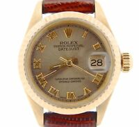 Ladies Rolex Solid 18K Yellow Gold Datejust Watch Leather Band Roman Dial 6917