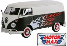 1:24 Volkswagen VW Type 2 (T1) Delivery Van Hot Rod (Black w White) by Motor Max