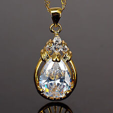 Women Jewelry Pear Cut CZ 18K Yellow Gold Plated Pendant Necklace Free Chain