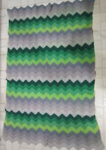Vintage hand knit wool afghan- shades of greens & grays zigzag stripe pattern GC