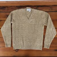 """Vintage Jantzen Tan Cable Knit Long Sleeve Pull Over V-Neck Sweater Womens L 43"""""""