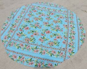 """April Cornell Pink & Teal Blue Tablecloth Floral French Farmhouse Round 70"""""""