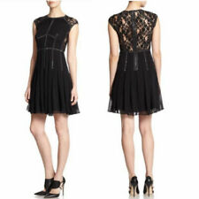 Rebecca Taylor $595 Charlotte Black Silk Silver Studded Lace Panelled Dress Sz 8