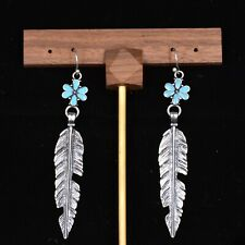 Earrings with Turquoise Blue Flower Charms Antique Silver Tone Feather Drop Hook