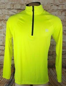 Reebok Compression Jacket Men Large Weather Gear Running Light Weight Yellow