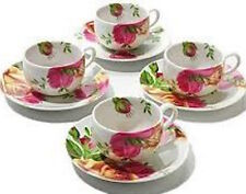 BEAUTIFUL Royal Albert Country Roses Set of 4 cups and 4 saucers Espresso NIB