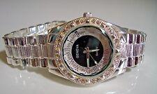 Geneva Silver Bracelet Black Dial 3D Designer Style Crystal Bezel Unisex Watch