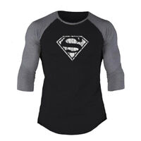 Men s Three Quarter Sleeve Superman T-shirts Bodybuilding Muscle Workout  Clothes faa66b8c0f6