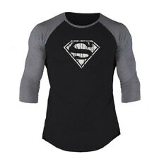 Men's Three Quarter Sleeve Superman T-shirts Bodybuilding Muscle Workout Clothes
