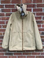 Jones New York Faux Suede Fur Winter Coat Tan Brown Jacket Size XL Large Hooded