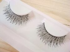 One Pair Sparkly Silver Fake False Eyelashes