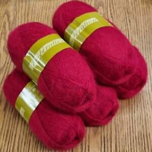 5 x 100g Inspiration aran / dk knitting yarn, mohair, wool, acrylic, raspberry