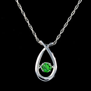 Emerald Solitaire Dancing Pendant 14k White Gold Over Sterling Silver