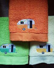 Set di 3 bellissimi ricamato Caravan TOURER Campeggio asciugamani