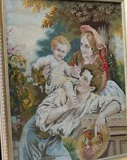 Antique Embroidery Needlework Framed Glazed - Circa 1900