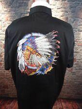Biker Apparel Motorcycle Indian Headdress Mens XL S/S Black Shirt Pockets