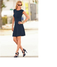 Gorgeous Boston Proper Cable Front Cap Sleeve Navy Sweater Dress, XS 2-4, NEW